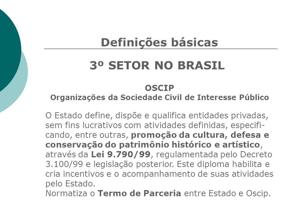 Definições básicas 3º SETOR NO BRASIL OSCIP Organizações da Sociedade Civil de Interesse Público O Estado define, dispõe e qualifica entidades privada