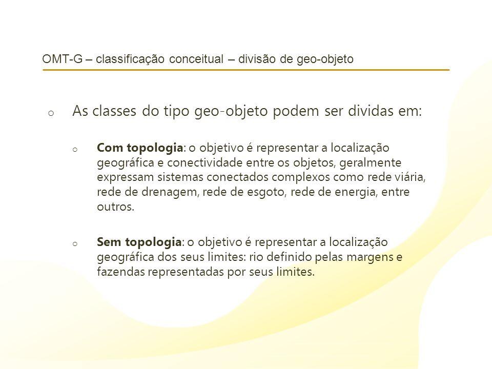 OMT-G – classificação conceitual – divisão de geo-objeto o As classes do tipo geo-objeto podem ser dividas em: o Com topologia: o objetivo é represent