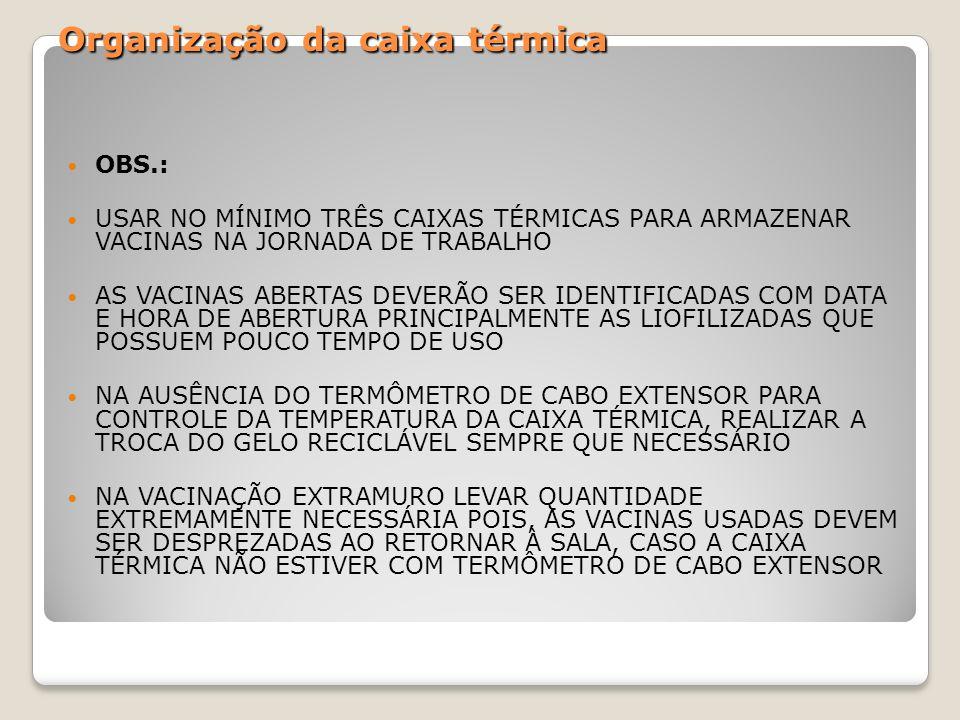 Organização da caixa térmica OBS.: USAR NO MÍNIMO TRÊS CAIXAS TÉRMICAS PARA ARMAZENAR VACINAS NA JORNADA DE TRABALHO AS VACINAS ABERTAS DEVERÃO SER ID
