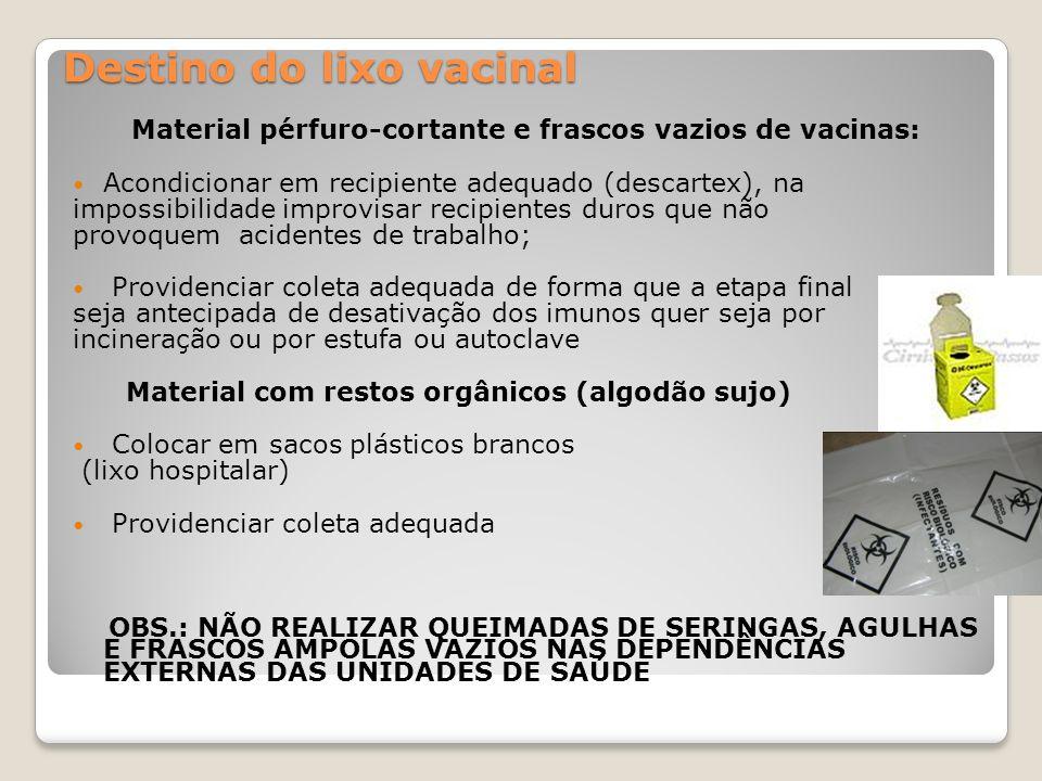 Destino do lixo vacinal Material pérfuro-cortante e frascos vazios de vacinas: Acondicionar em recipiente adequado (descartex), na impossibilidade imp