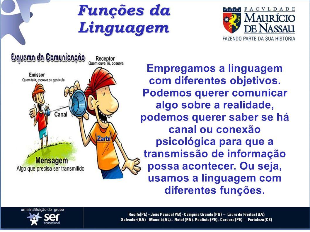 Funções da Linguagem Empregamos a linguagem com diferentes objetivos. Podemos querer comunicar algo sobre a realidade, podemos querer saber se há cana