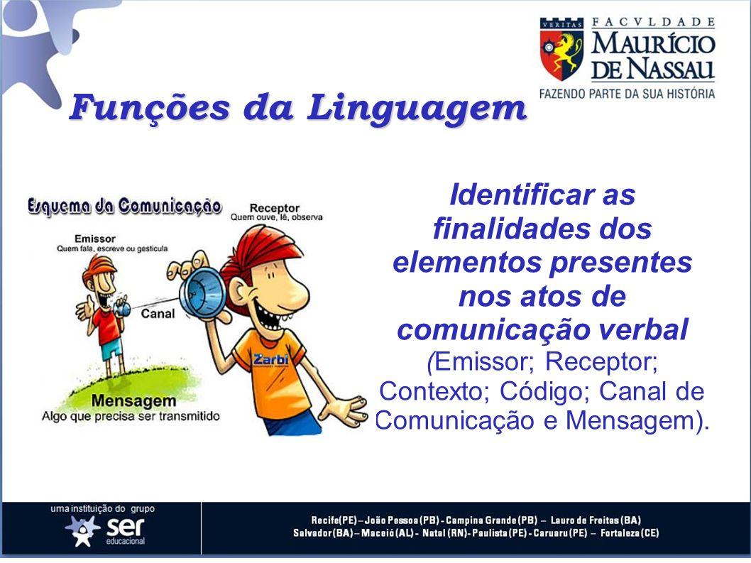 Funções da Linguagem Identificar as finalidades dos elementos presentes nos atos de comunicação verbal (Emissor; Receptor; Contexto; Código; Canal de