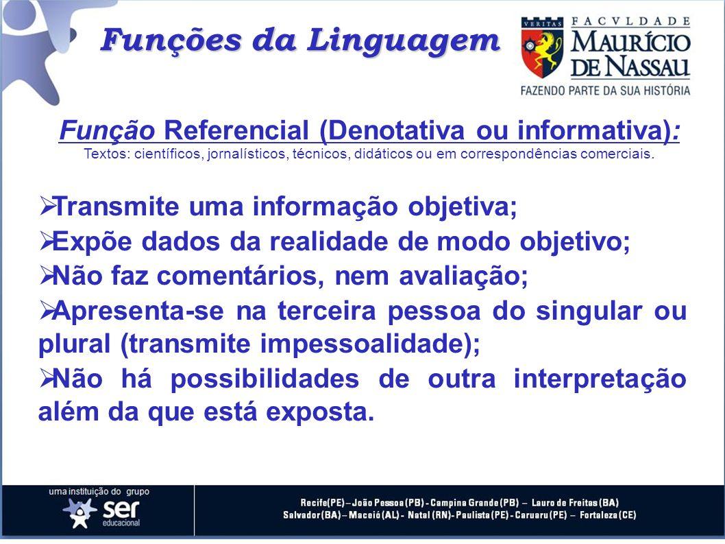 Funções da Linguagem Função Referencial (Denotativa ou informativa): Textos: científicos, jornalísticos, técnicos, didáticos ou em correspondências co