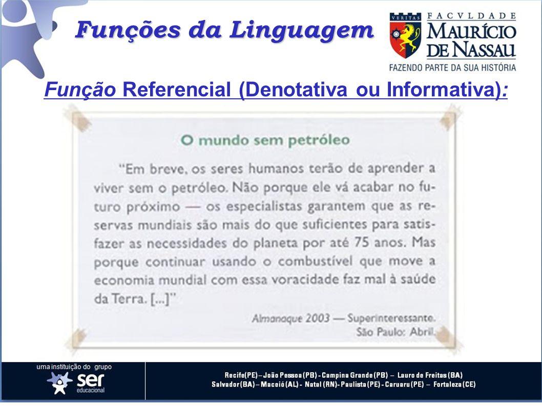 Funções da Linguagem Função Referencial (Denotativa ou Informativa):