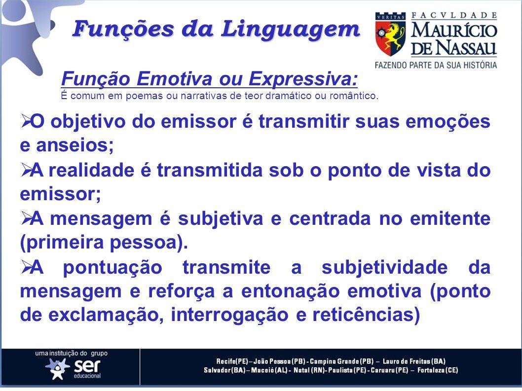 Funções da Linguagem O objetivo do emissor é transmitir suas emoções e anseios; A realidade é transmitida sob o ponto de vista do emissor; A mensagem