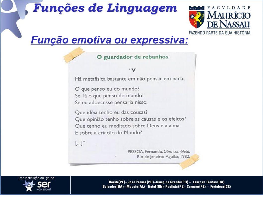 Funções de Linguagem Função emotiva ou expressiva: