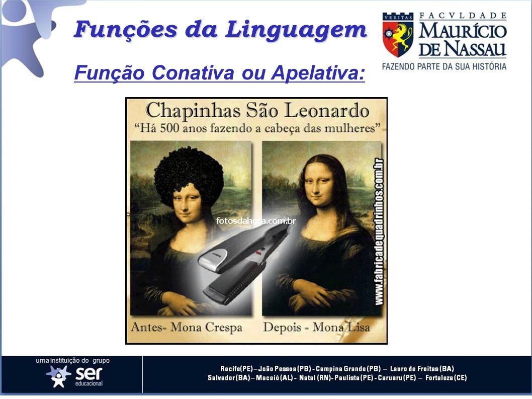 Funções da Linguagem Função Conativa ou Apelativa: