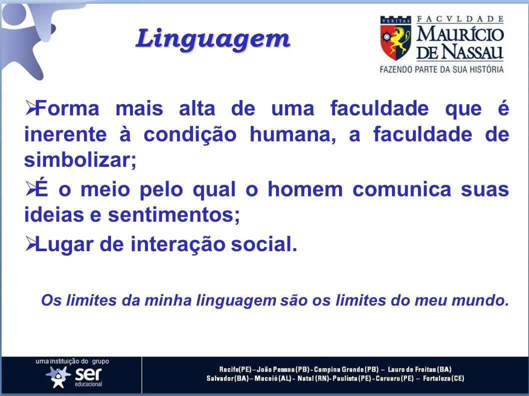 Linguagem Forma mais alta de uma faculdade que é inerente à condição humana, a faculdade de simbolizar; É o meio pelo qual o homem comunica suas ideia
