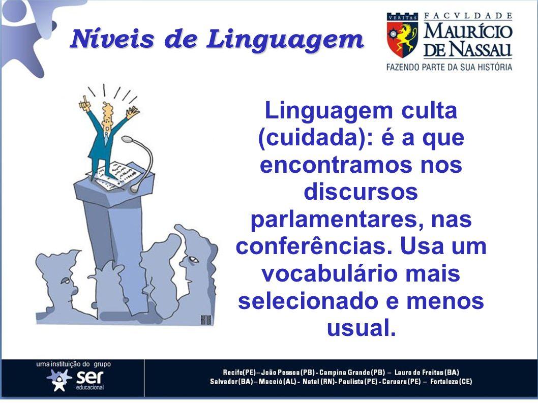Linguagem culta (cuidada): é a que encontramos nos discursos parlamentares, nas conferências. Usa um vocabulário mais selecionado e menos usual. Nívei