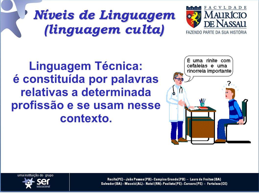 Níveis de Linguagem Linguagem Técnica: é constituída por palavras relativas a determinada profissão e se usam nesse contexto. Níveis de Linguagem (lin