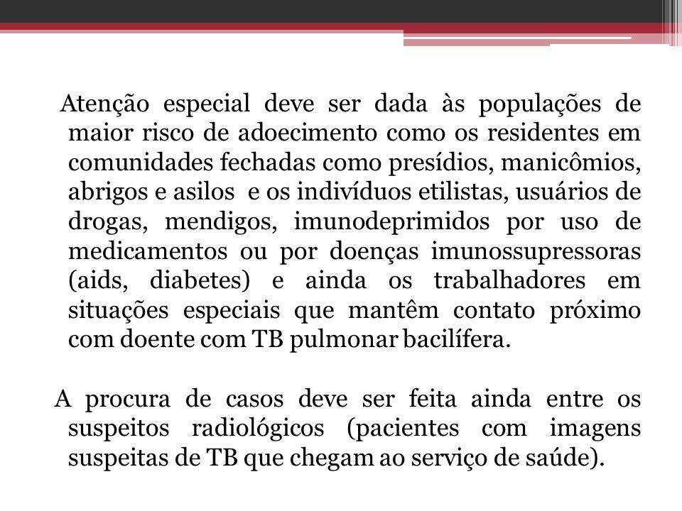 Atenção especial deve ser dada às populações de maior risco de adoecimento como os residentes em comunidades fechadas como presídios, manicômios, abri