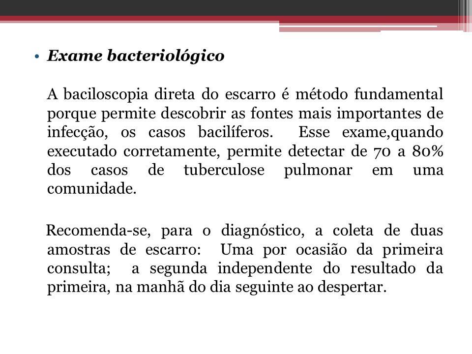 Exame bacteriológico A baciloscopia direta do escarro é método fundamental porque permite descobrir as fontes mais importantes de infecção, os casos b