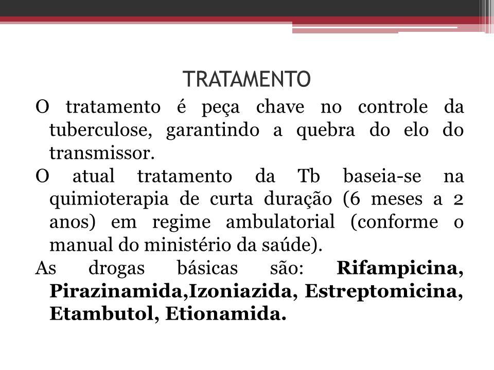 TRATAMENTO O tratamento é peça chave no controle da tuberculose, garantindo a quebra do elo do transmissor. O atual tratamento da Tb baseia-se na quim