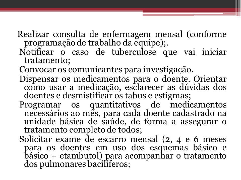 Realizar consulta de enfermagem mensal (conforme programação de trabalho da equipe);. Notificar o caso de tuberculose que vai iniciar tratamento; Conv