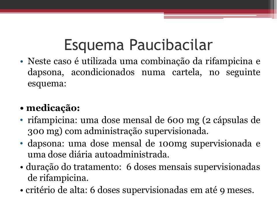 Esquema Paucibacilar Neste caso é utilizada uma combinação da rifampicina e dapsona, acondicionados numa cartela, no seguinte esquema: medicação: rifa