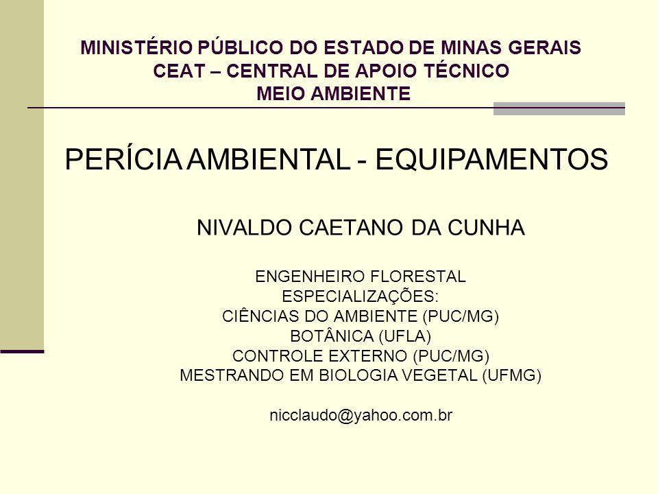 MINISTÉRIO PÚBLICO DO ESTADO DE MINAS GERAIS CEAT – CENTRAL DE APOIO TÉCNICO MEIO AMBIENTE NIVALDO CAETANO DA CUNHA ENGENHEIRO FLORESTAL ESPECIALIZAÇÕ