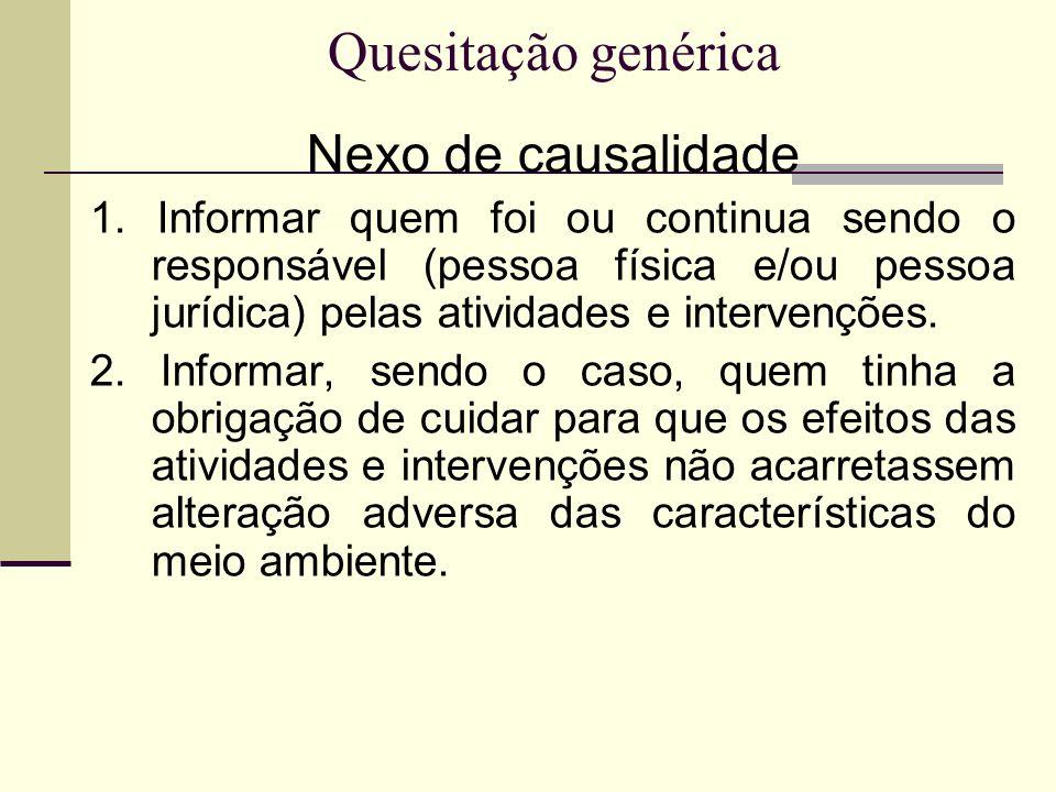Quesitação genérica Nexo de causalidade 1. Informar quem foi ou continua sendo o responsável (pessoa física e/ou pessoa jurídica) pelas atividades e i