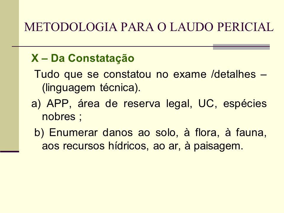 METODOLOGIA PARA O LAUDO PERICIAL X – Da Constatação Tudo que se constatou no exame /detalhes – (linguagem técnica). a) APP, área de reserva legal, UC