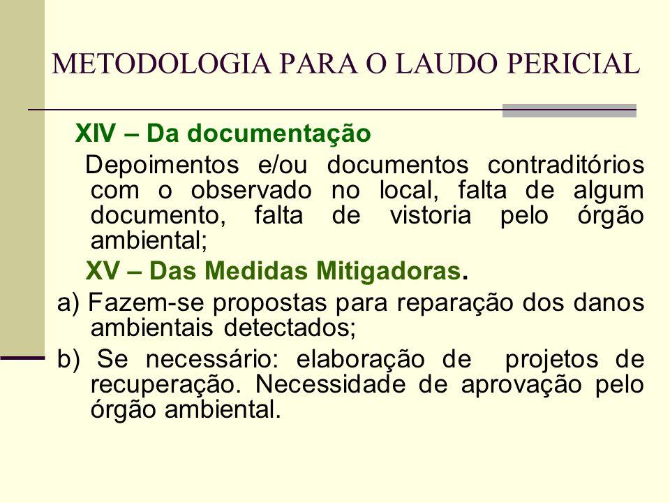METODOLOGIA PARA O LAUDO PERICIAL XIV – Da documentação Depoimentos e/ou documentos contraditórios com o observado no local, falta de algum documento,