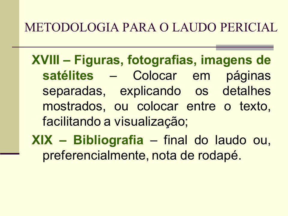 METODOLOGIA PARA O LAUDO PERICIAL XVIII – Figuras, fotografias, imagens de satélites – Colocar em páginas separadas, explicando os detalhes mostrados,