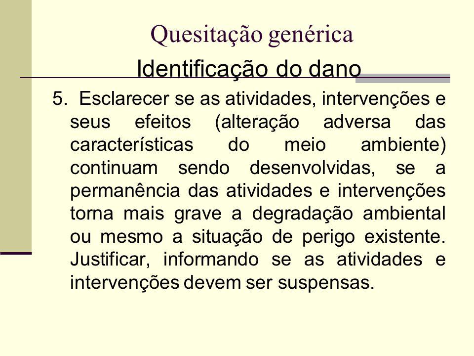 Quesitação genérica Identificação do dano 5. Esclarecer se as atividades, intervenções e seus efeitos (alteração adversa das características do meio a