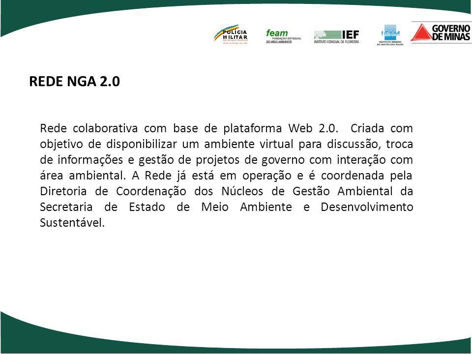REDE NGA 2.0 Rede colaborativa com base de plataforma Web 2.0. Criada com objetivo de disponibilizar um ambiente virtual para discussão, troca de info