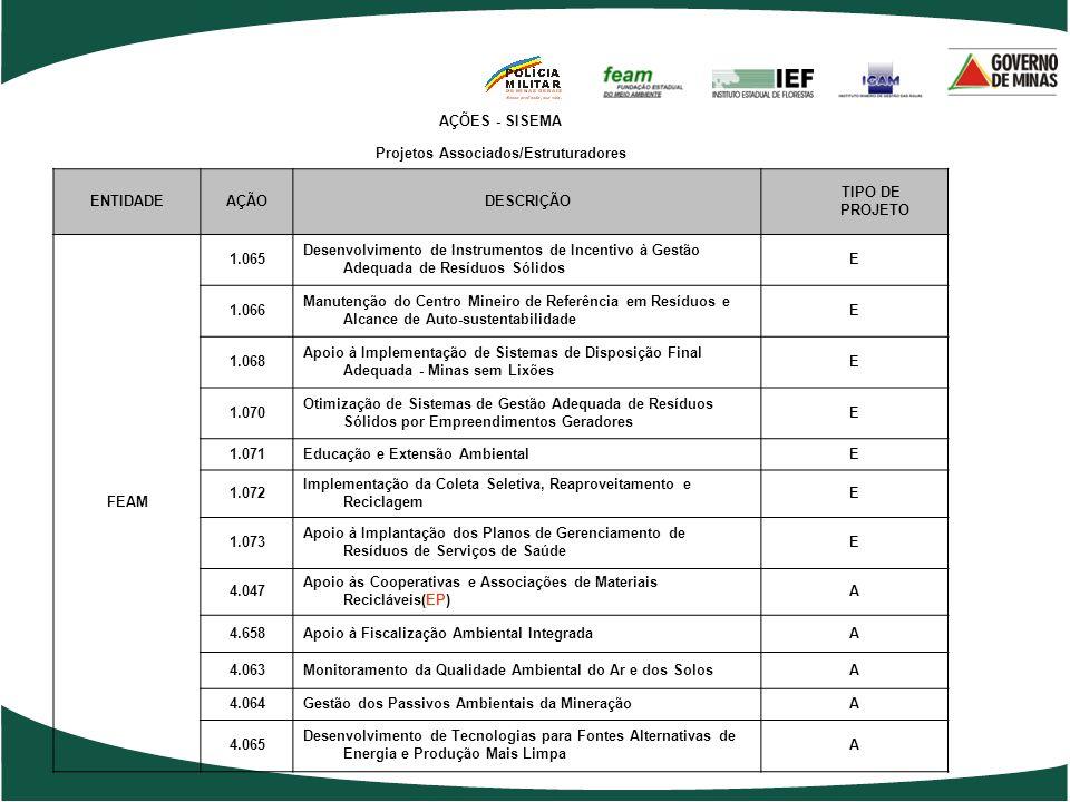 AÇÕES - SISEMA Projetos Associados/Estruturadores ENTIDADEAÇÃODESCRIÇÃOTIPO DE PROJETO 2.048 Gestão Ambiental Descentralizada (Superintendências Regio
