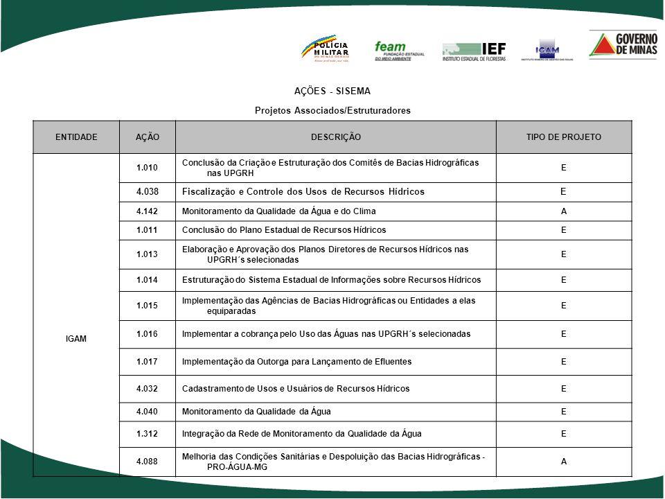 AÇÕES - SISEMA Projetos Associados/Estruturadores ENTIDADEAÇÃODESCRIÇÃOTIPO DE PROJETO 2.050Gestão Ambiental Descentralizada – Escritórios RegionaisEs
