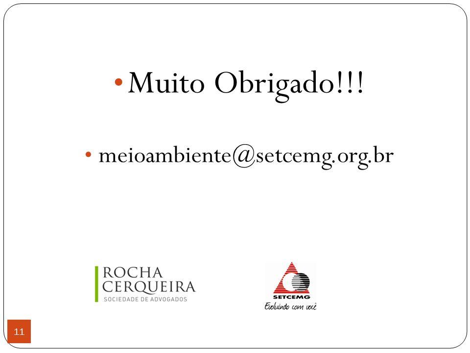 11 Muito Obrigado!!! meioambiente@setcemg.org.br