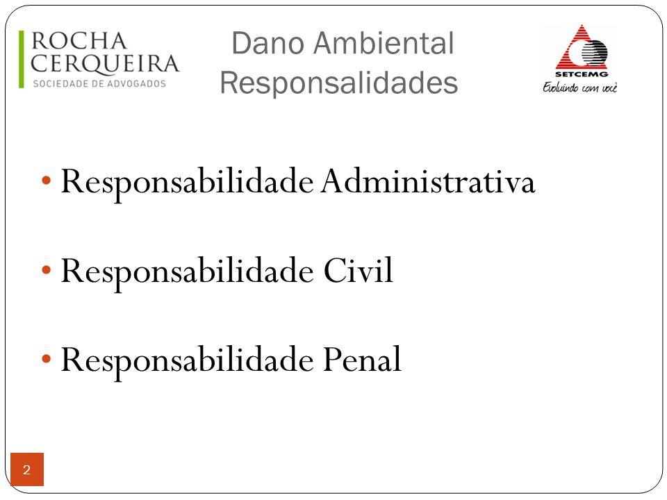 Dano Ambiental Responsabilidades 3 Responsabilidade Administrativa Decorrência de uma infração à legislação ambiental; Principal Sanção: multa Competência para julgar o processo administrativo: órgão ambiental (regra)
