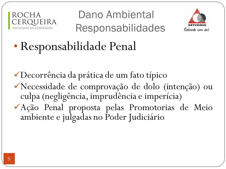 Dano Ambiental Responsabilidades 5 Responsabilidade Penal Decorrência da prática de um fato típico Necessidade de comprovação de dolo (intenção) ou cu
