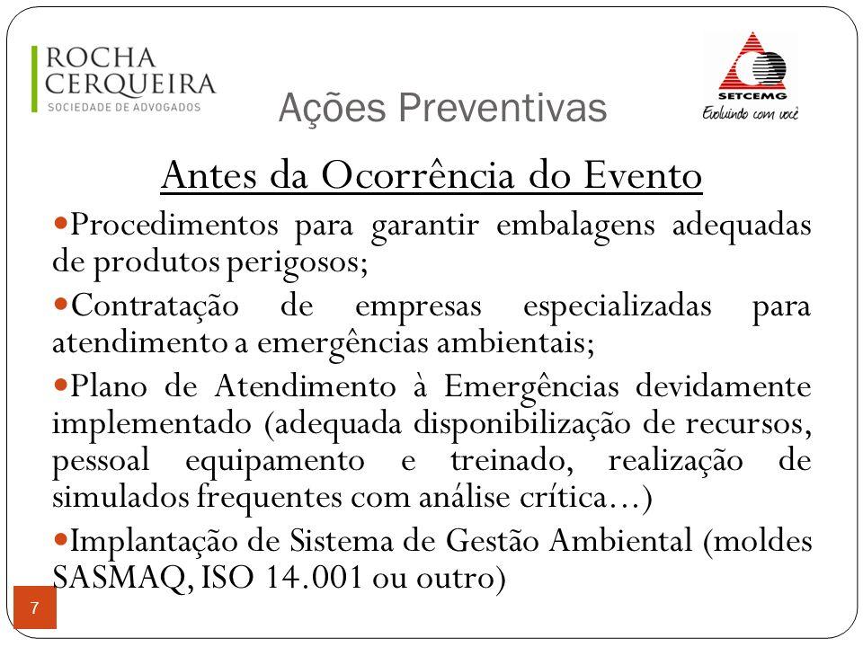 Ações Preventivas 7 Antes da Ocorrência do Evento Procedimentos para garantir embalagens adequadas de produtos perigosos; Contratação de empresas espe