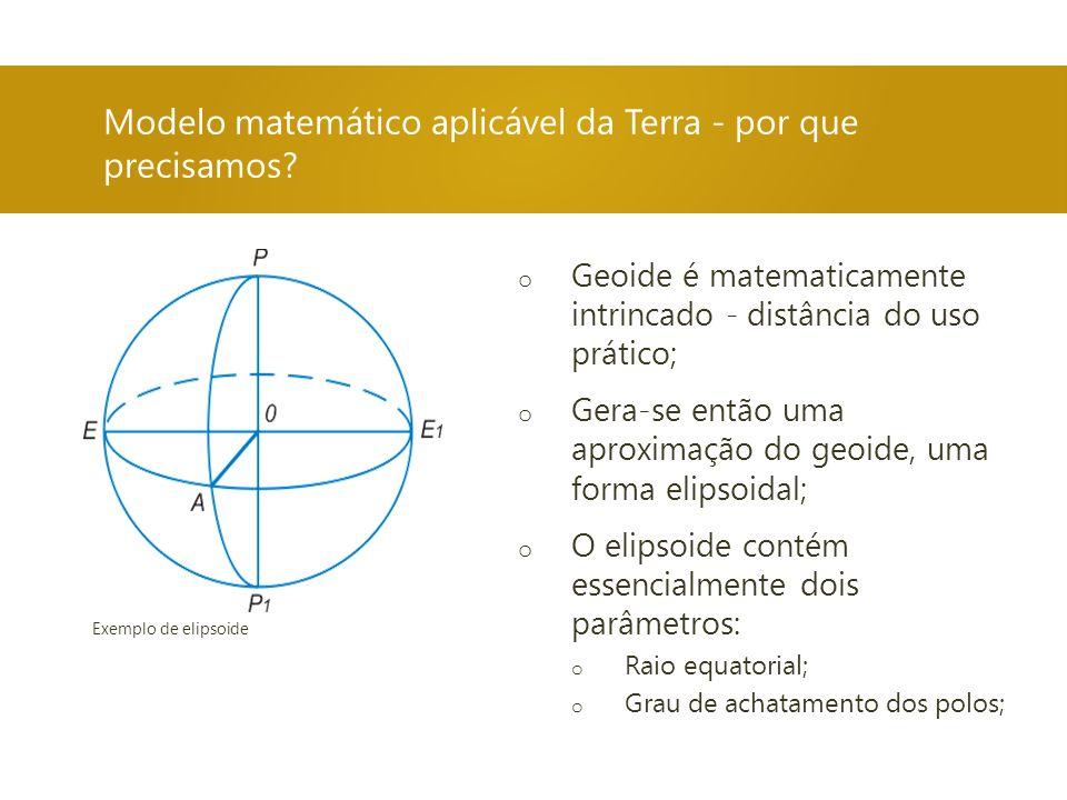 Modelo matemático aplicável da Terra - por que precisamos? o Geoide é matematicamente intrincado - distância do uso prático; o Gera-se então uma aprox