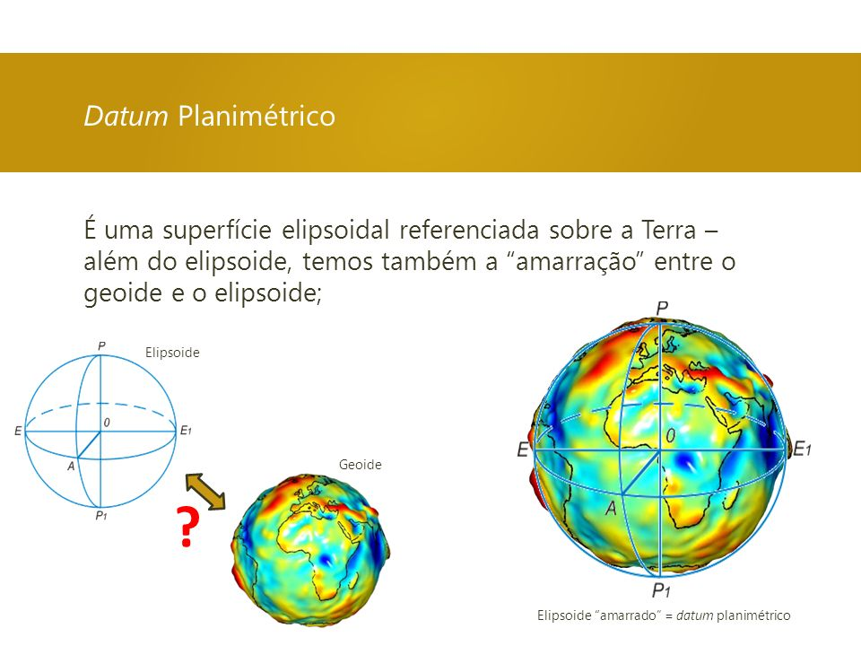 É uma superfície elipsoidal referenciada sobre a Terra – além do elipsoide, temos também a amarração entre o geoide e o elipsoide; Datum Planimétrico