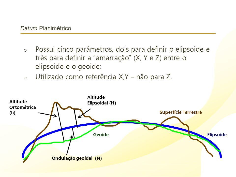 Datum Planimétrico o Possui cinco parâmetros, dois para definir o elipsoide e três para definir a amarração (X, Y e Z) entre o elipsoide e o geoide; o
