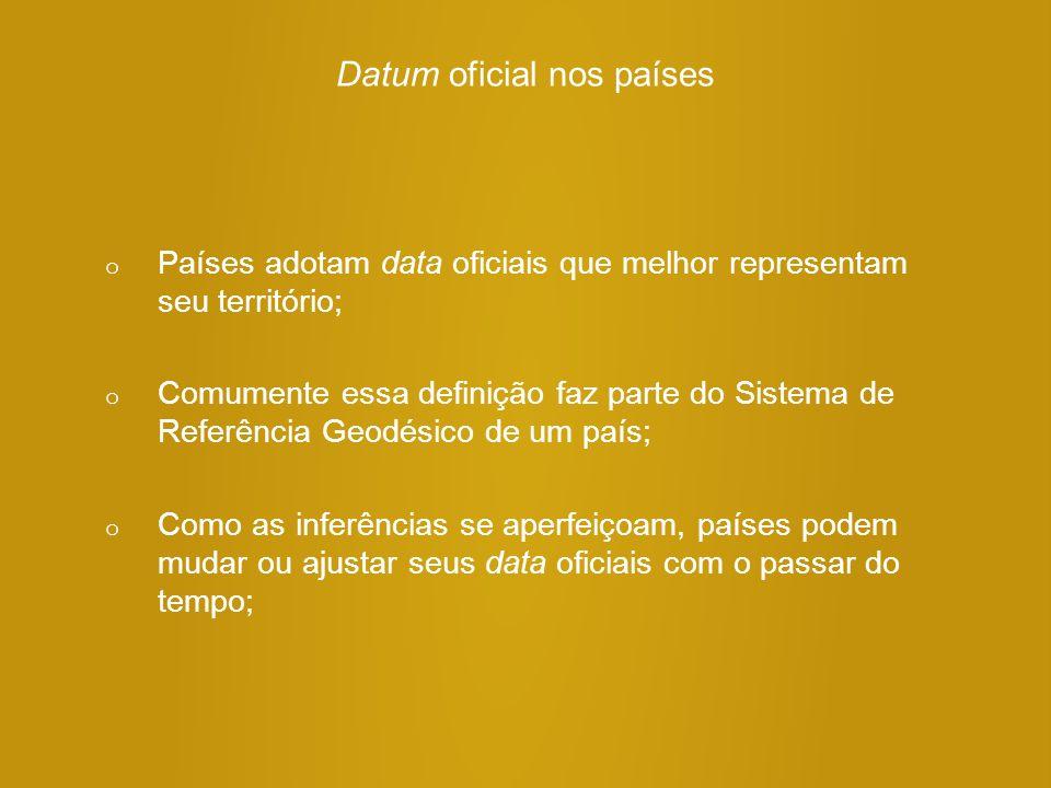 Datum oficial nos países o Países adotam data oficiais que melhor representam seu território; o Comumente essa definição faz parte do Sistema de Refer