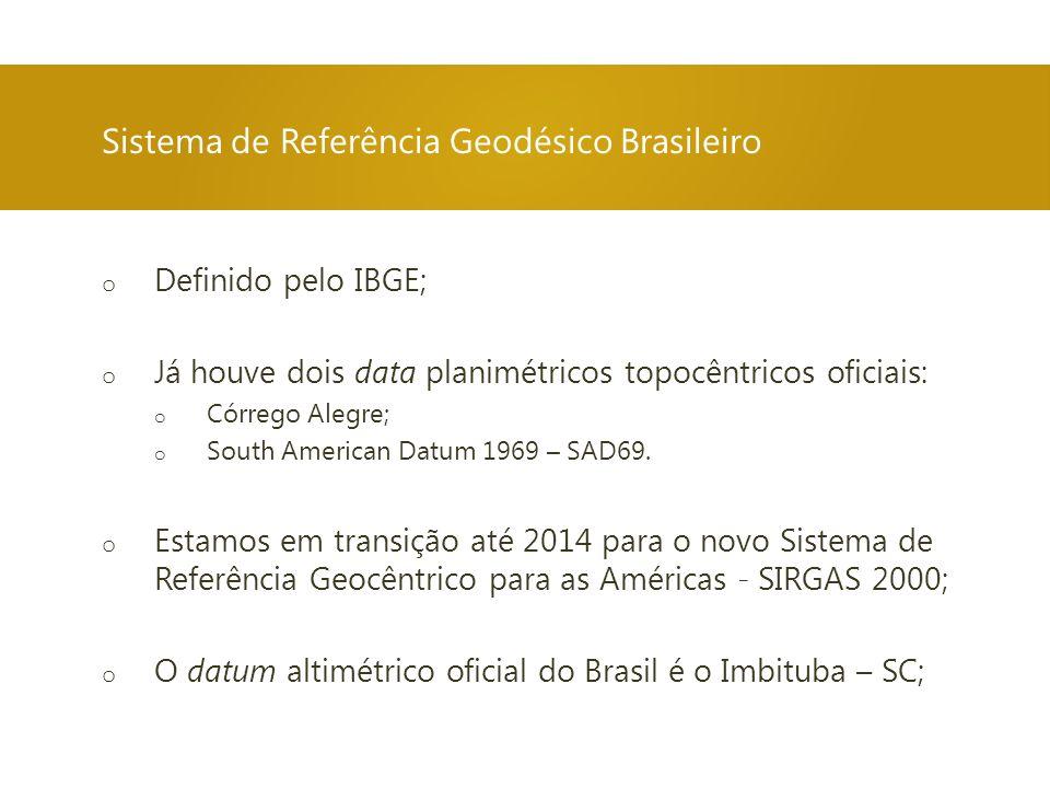 o Definido pelo IBGE; o Já houve dois data planimétricos topocêntricos oficiais: o Córrego Alegre; o South American Datum 1969 – SAD69. o Estamos em t