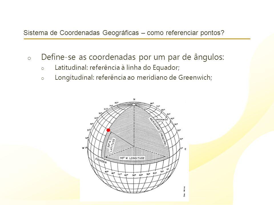 Sistema de Coordenadas Geográficas – como referenciar pontos? o Define-se as coordenadas por um par de ângulos: o Latitudinal: referência à linha do E