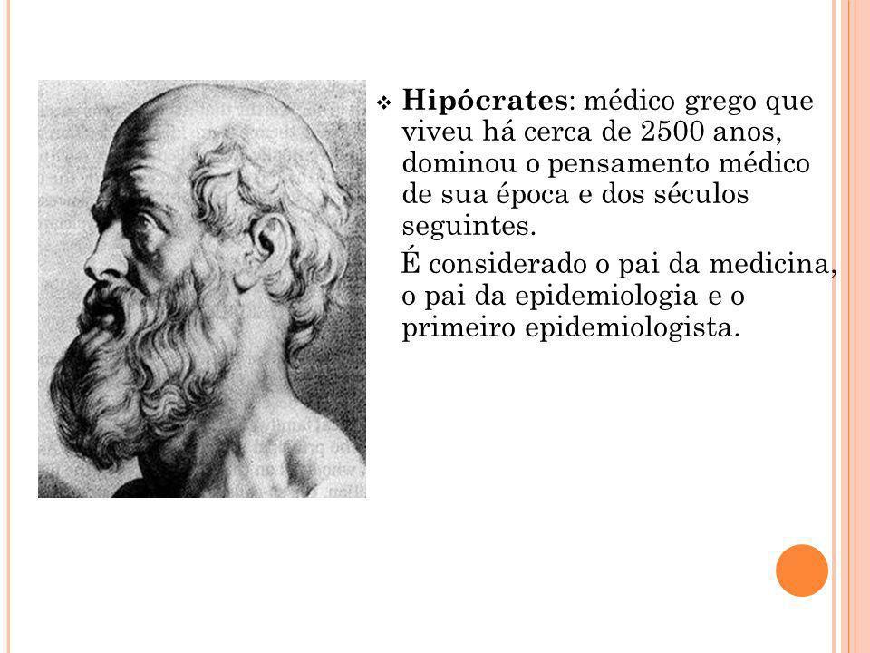Hipócrates : médico grego que viveu há cerca de 2500 anos, dominou o pensamento médico de sua época e dos séculos seguintes. É considerado o pai da me