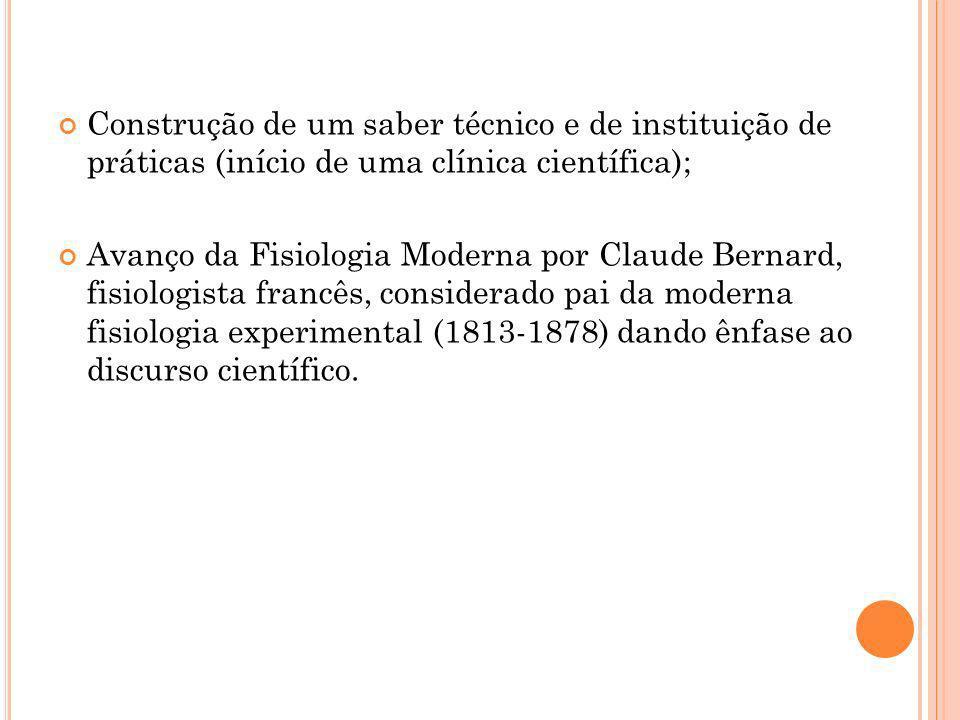 Construção de um saber técnico e de instituição de práticas (início de uma clínica científica); Avanço da Fisiologia Moderna por Claude Bernard, fisio