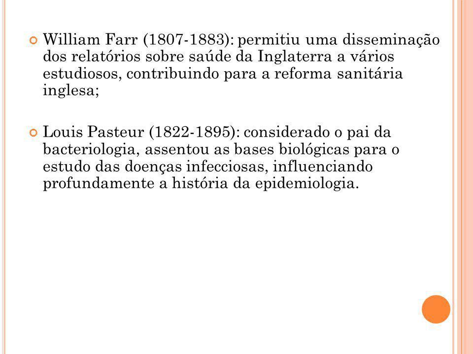 William Farr (1807-1883): permitiu uma disseminação dos relatórios sobre saúde da Inglaterra a vários estudiosos, contribuindo para a reforma sanitári