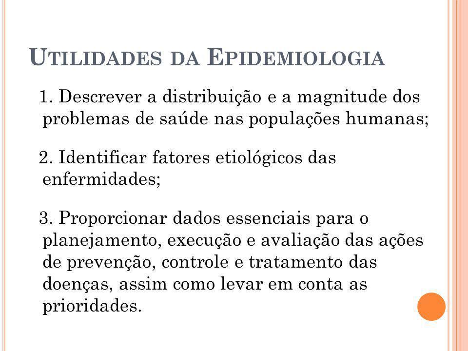 U TILIDADES DA E PIDEMIOLOGIA 1. Descrever a distribuição e a magnitude dos problemas de saúde nas populações humanas; 2. Identificar fatores etiológi