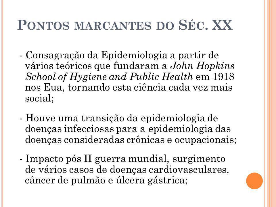 P ONTOS MARCANTES DO S ÉC. XX - Consagração da Epidemiologia a partir de vários teóricos que fundaram a John Hopkins School of Hygiene and Public Heal