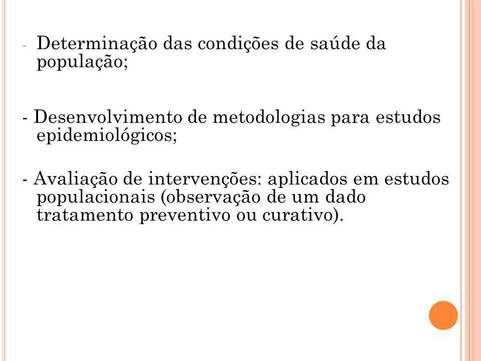 - Determinação das condições de saúde da população; - Desenvolvimento de metodologias para estudos epidemiológicos; - Avaliação de intervenções: aplic