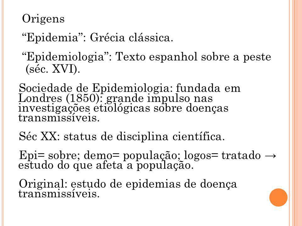 Origens Epidemia: Grécia clássica. Epidemiologia: Texto espanhol sobre a peste (séc. XVI). Sociedade de Epidemiologia: fundada em Londres (1850): gran