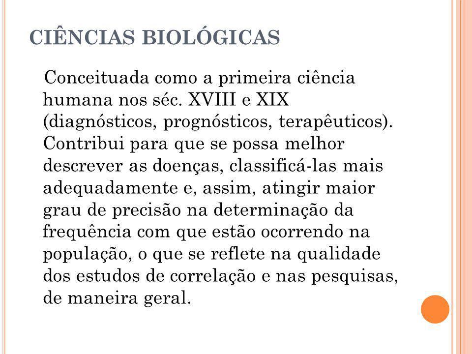 CIÊNCIAS BIOLÓGICAS Conceituada como a primeira ciência humana nos séc. XVIII e XIX (diagnósticos, prognósticos, terapêuticos). Contribui para que se