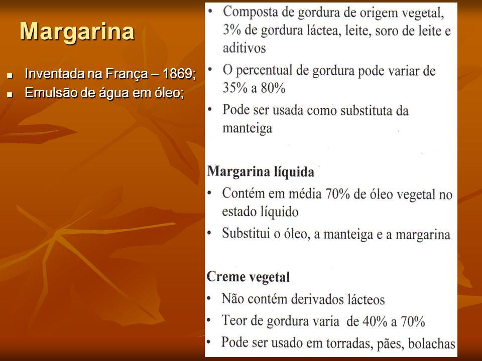 Margarina Inventada na França – 1869; Inventada na França – 1869; Emulsão de água em óleo; Emulsão de água em óleo;