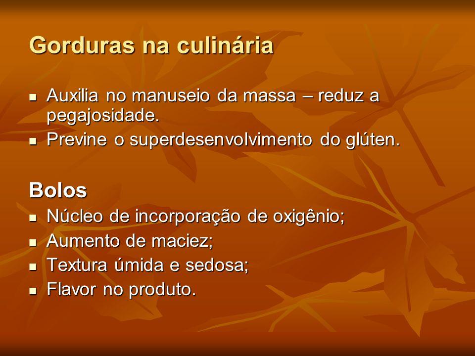 Gorduras na culinária Auxilia no manuseio da massa – reduz a pegajosidade. Auxilia no manuseio da massa – reduz a pegajosidade. Previne o superdesenvo