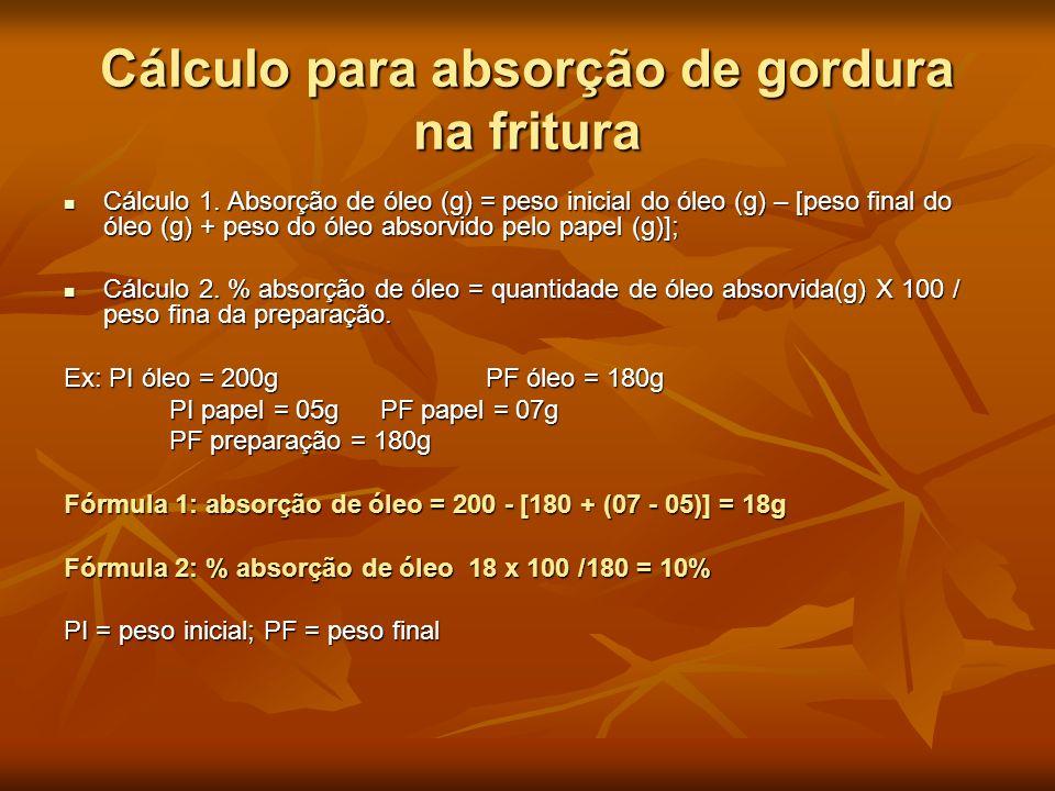 Cálculo para absorção de gordura na fritura Cálculo 1. Absorção de óleo (g) = peso inicial do óleo (g) – [peso final do óleo (g) + peso do óleo absorv