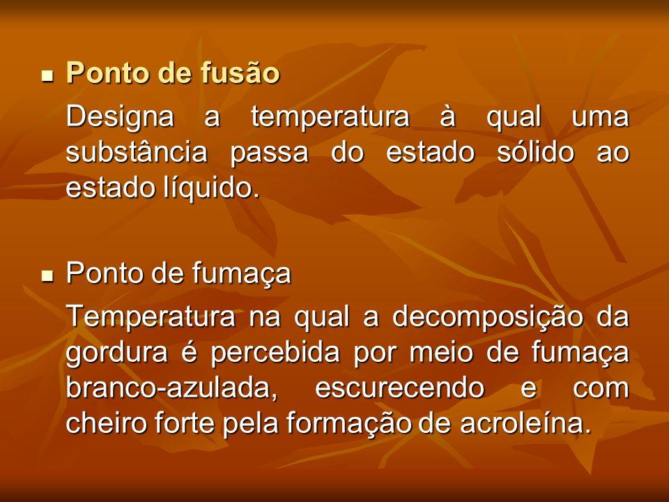 Ponto de fusão Ponto de fusão Designa a temperatura à qual uma substância passa do estado sólido ao estado líquido. Ponto de fumaça Ponto de fumaça Te